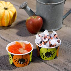 Halloween Treat Tub Bowls, Spider Design Pack of 8