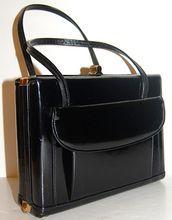 1950/60s Holt Renfrew ~ Genuine Black Leather Box Purse