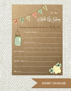Rustic Mason Jar Advice Cards for the Bride by AestheticJourneys, $8.00
