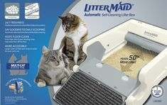 LitterMaid Mega Series Automatic Self-Cleaning Cat Litter Box is the ultimate in convenience, eliminating the need for scooping. It contains a motion sensor that determines when your cats enter and leave, automatically scooping any messes into a sealed, disposable receptacle with carbon filters that absorb and trap offensive odors.The strong, durable rake can be removed for simple cleaning, and the extra-high side walls and paw-cleaning ramp help keep more litter in the box and off the…