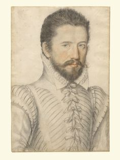 Portrait of a bearded man, half-length, wearing a slashed doublet; Attributed to L'Anonyme Lécurieux (French, active 1555 - 1581); about 1575; Black and red chalk; 33 x 22.2 cm (13 x 8 3/4 in.); 2003.10; J. Paul Getty Museum, Los Angeles, California
