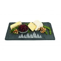 Rustic Holiday Evergreen Slate Board