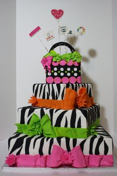 Fashion Animal Print Cake - Cute little girls birthday cake!