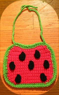 Crochet Watermelon Baby Bib