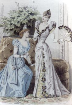 Evening ball gowns have a low neckline, wasp waist - often a train as well. Would love to visit this era! 1870s Fashion, Edwardian Fashion, Vintage Fashion, Style Édouardien, Vintage Outfits, Jean Délavé, Fashion Prints, Fashion Design, Fashion Patterns