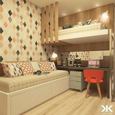 Bunk Bed with Desk: 60 Creative Ideas to Save Space - Deco Art House Girls Bedroom, Bedroom Decor, Bedrooms, Bunk Bed With Desk, Room Interior, Interior Design, Dream Rooms, My Room, Bunk Beds