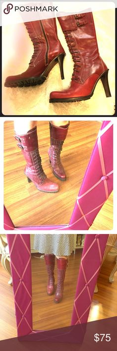 """Donald J Pliner Red Leather Boots size 9 Donald J Pliner  stilleto  4"""" heeled boots with strings. Used twice and still in excellent sexy condition.  No other issues. Full leather. Donald J Pliner Shoes Heels"""