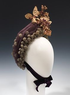 Bonnet  ca. 1900  NOTE: Reminds me of (Great)Gram's floral hair.                  decoration.