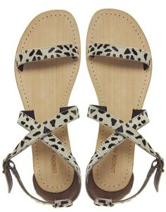 Image 3 of London Rebel Animal Strap Leather Flat Sandal