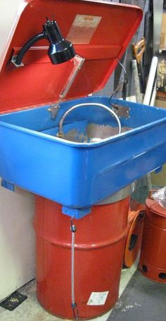 Parts Washer by Jagmandave -- Homemade parts washer adapted from a commercial unit with the addition of a solvent barrel and a worklight. http://www.homemadetools.net/homemade-parts-washer-22