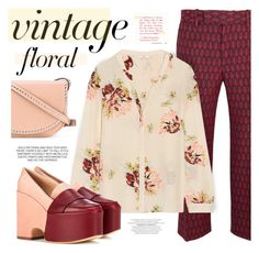 """""""Vintage Floral Silk Blouse"""" by angiesprad ❤ liked on Polyvore featuring Gucci, Joie, Gabriela Hearst, RED Valentino and vintage"""