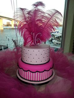 Sweet Sixteen cake by Cakery Creation in Daytona Beach. Pink, white and black sweet sixteen cake.I have to give a shout out to www.cohodesigns.com for custom designing and 3D printing my numbers!