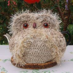 Owl Teapot Cozy Large Beige cream white by CuteAussieKnits
