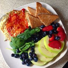 Good morning  I hope you all had an amazing Friday night ✨ I went into Stromboli  coma last night  while playing Pokemon. Started off this morning with  healthy rainbow fuel  for legs ⏩ egg whites with spices  (garlic, oregano, black pepper, sea salt) • a slice of  high fiber toast • half a green apple  • fresh strawberries  • blueberries • raw spinach  Healthy fuel in, kick ass lifts out ✨ can't wait to go to the gym  #Padgram