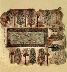 Garden and Fish Pond, ancient Egypt (1350 BC), British Museum.