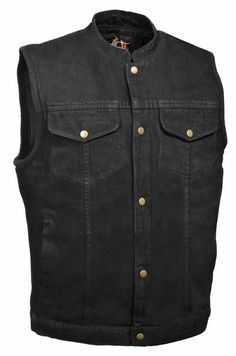 Mens Black Denim Biker Vest Concealed Weapon Gun Pockets