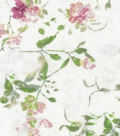 Fashion Linen Fabric Ditsy Floral Pink White Linen Rayon