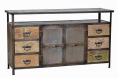 Vintage Industrial Sideboard with Reclaimed Teak Wood Kitchen Sideboard, Sideboard, Vintage Industrial Sideboard, Vintage Industrial Interior, Vintage Industrial Furniture, Industrial Sideboards, Furniture, Furniture Details, Teak Wood