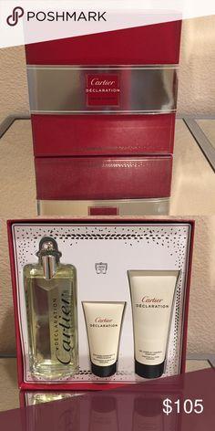 Cartier Men Declaration Eau De Toilette 3 Piece Includes after shave, body wash and 3.3 fl oz cologne Cartier Makeup