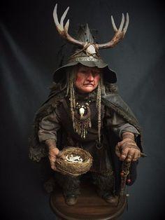 OOAK Halloween Witch Fantasy Figure Sculpture, Polymer Clay Art Doll: