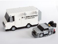 The Back to the Future Minimal LEGO DeLorean Can be Loaded in the Doc Brown's Van