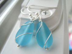 Sea Glass Earrings Wire Wrapped Teardrop by Sparkleandswirl, $12.00