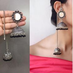 Jewellery Gold Necklace unless Earring Organizer Box Walmart because Jewellery Online Jaipur despite Jewellery Exchange Redwood City Indian Jewelry Earrings, Silver Jewellery Indian, Indian Wedding Jewelry, Fashion Earrings, Silver Jewelry, Fashion Jewelry, Silver Jhumkas, Silver Ring, Silver Earrings