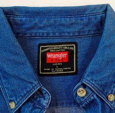 Wrangler Hero Ladies Denim Jeans Western Shirt Blue Long Sleeve Women Sz L | Clothing, Shoes & Accessories, Women's Clothing, Tops & Blouses | eBay!