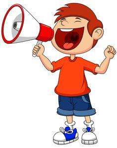 Cartoon boy yelling and shouting into a megaphone. Illustration of Cartoon boy y ,