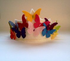 felt butterfly crown - One for G, and one for Baby  B.  Easy peasy, and turned out super cute!