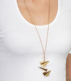 Dangling Paper Airplanes Necklace   Brass Necklace   fredflare.com - StyleSays