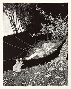"Two rabbits sat up on their hind legs and looked at her. From ""The Little Fairy Sister"" illustrated by Ida Rentoul Outhwaite Vintage Fairies, Vintage Art, Legends And Myths, Elves And Fairies, Fairytale Art, Fantasy Paintings, Fairy Art, Faeries, Children's Book Illustration"