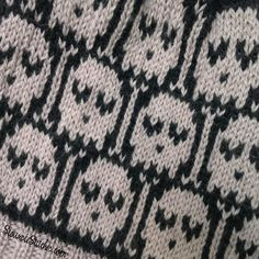Heart-Eyed Skulls hat - free knitting pattern from SiouxsieStitches.com Free Knitting, Knitting Patterns, Skulls, Hooks, Knit Crochet, Stitch, Knit Patterns, Full Stop, Haken