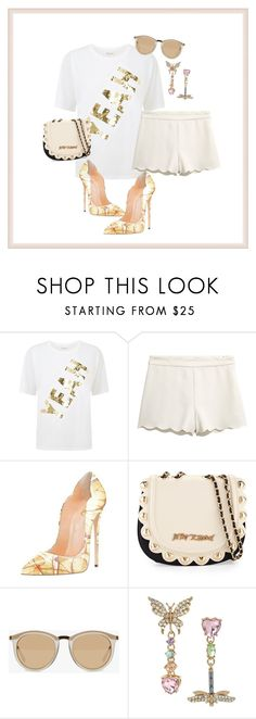 """Look for Less: Pretty Butterfly Heels"" by kvogele on Polyvore featuring Juicy Couture, Betsey Johnson and Le Specs"