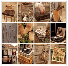 love the feel of this booth. I'd like to incorporate distressed wood, vintage suitcases, record player, treats in vintage container, love the creative way of displaying cards in frame. love so much here!
