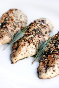 Balsamic and rosemary chicken | serve with side of Alfredo on zoodles.