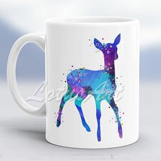 Blue Doe Watercolor Mug Doe Mug Animal Lover Gift Mug Gifts Mug Coffee Mug Personalized Mug Custom Mug  Gift for Her Kids Gifts Mug Doe Art
