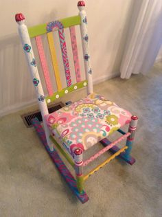 Hand painted furniture Refurbished child's rocker $120