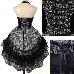 Black Floral Victorian Gothic Lolita Fashion Party Choker Tutu Dress SKU-11402069