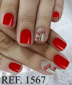 💅 41 Diseño de Uñas Color Rojo Que te Encantarán! 😍 Pretty Nail Art, Cute Nail Art, Nail Polish Designs, Cool Nail Designs, Finger, Magic Nails, Nail Designs Spring, Flower Nails, Nail Manicure
