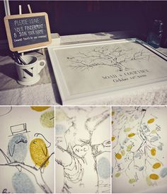 Thumb print guest book tree. cute idea! and i love the bride and groom! haha