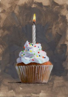 """3 The Birthday Candle"""" - Original Fine Art for Sale - © Brian Burt Candle Drawing, Birthday Painting, Food Painting, Cupcake Painting, Cupcake Art, Painted Cakes, Food Drawing, Diy Canvas Art, Realistic Drawings"""