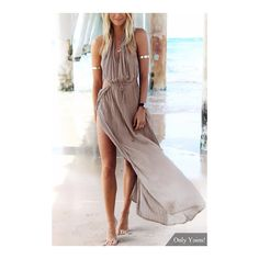 Yoins Bohemia Sleeveless Back Lace-up Side Split Beach Maxi Dress (75 RON) ❤ liked on Polyvore featuring dresses, cutout maxi dresses, brown sleeveless dress, beach dresses, lace up back maxi dress and maxi length dresses