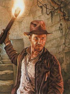 """""""Indiana Jones"""" © Phil Wilson - watercolor"""