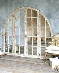 Vintage Large Shabby White Arched Top Mirrored Architectural Window - oh my:)