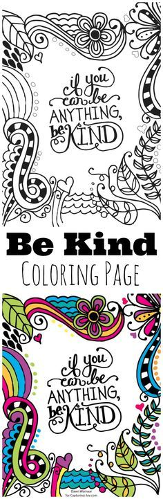 Be Kind Kids Coloring Page, great for kids to help encourage kindness, hang on a. - Coloring Pages Colouring Pages, Adult Coloring Pages, Coloring Sheets, Coloring Books, Mandala Coloring, Coloring Pages For Kids, Kids Coloring, Activities For Kids, Crafts For Kids