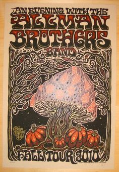 Allman Brothers Band - silkscreen concert poster (click image for more detail) Artist: Jeff Wood of Drowning Creek Studios Venue: Multi-venue Location: Multi-city Concert Date: Fall Tour 2010 Size: 15