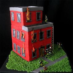 Building on fire cake.
