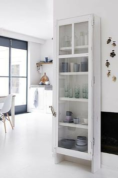 White Glass Cabinet #kitchen #pantry #cabinet