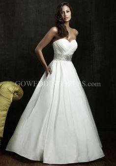 A-Line Strapless Sweetheart Empire Floor Length Chapel Wedding Dress 8802